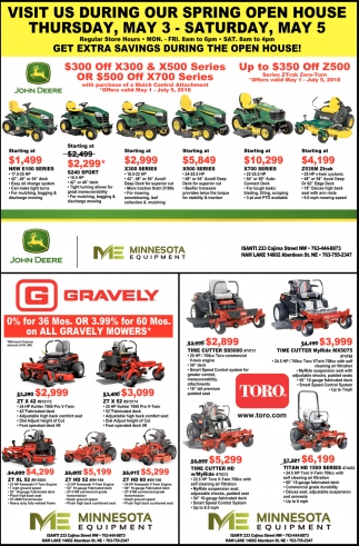 Visit us During Our Spring Open House!, Minnesota Equipment, Isanti, MN