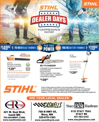 Local STIHL Dealers, Isanti Rental - Caswells Cycle - Stacy