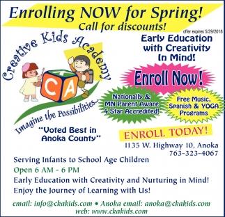 Enrolling NOW for Spring!