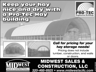 Call for pricing for your hay storage needs