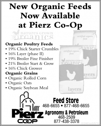 New Organic Feeds Now Available at Pierz Co-op