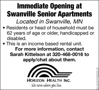 Immediate Opening at Swanville Senior Apartmets