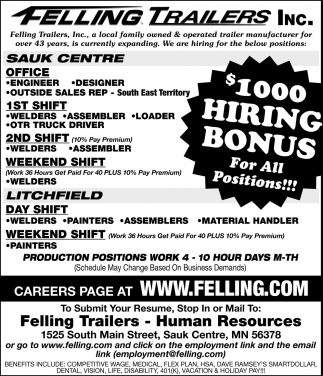 Felling Trailers Hiring