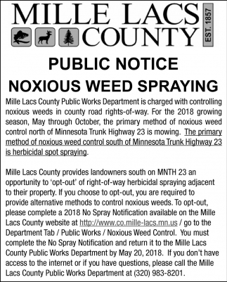 Public Notice Noxious Weed Spraying
