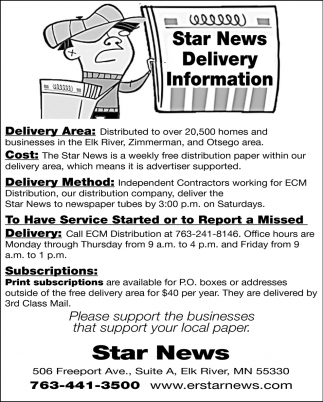 Star News Delivery Information
