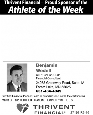Thrivent Financial Proud Sponsor Of The Athlete Of The Week