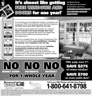 Free Windows and Doors for one Year!