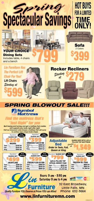 Etonnant Spring Spectacular Savings, Lin Furniture Of Little Falls Inc, Little  Falls, MN