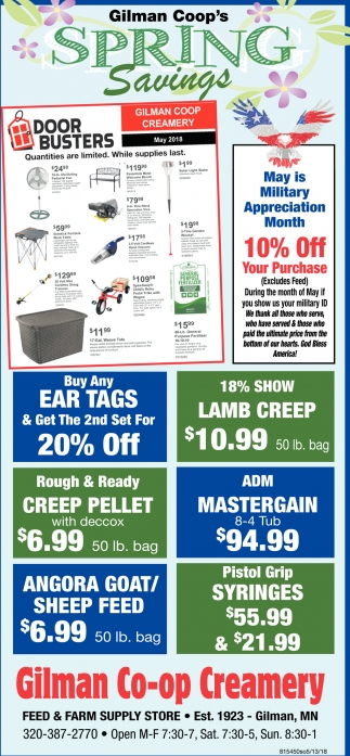 Gilman Coop's Spring Savings