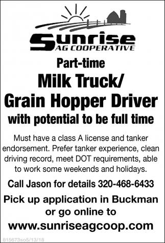 Part-Time Milk Truck/Grain Hopper Driver
