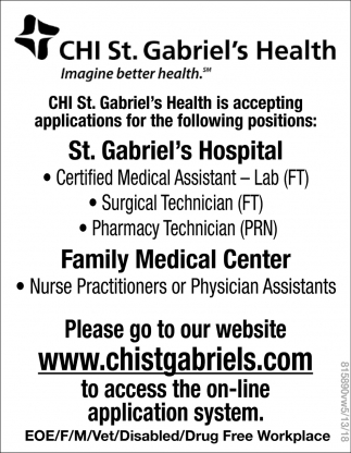 CHI St. Gabriel's Health is Accepting Applications