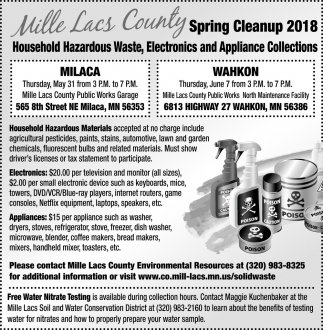 Mille Lacs County Spring Cleanup
