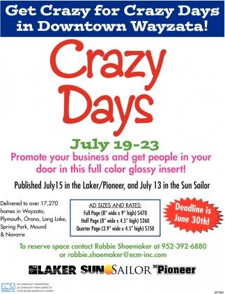 Get Crazy for Crazy Days in Downtown Wayzata!