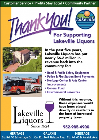 Thank You for Supporting Lakeville Liquors