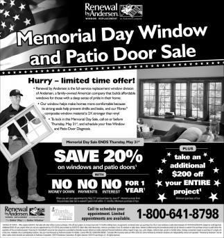 Memorial Day Window and Patio Door Sale