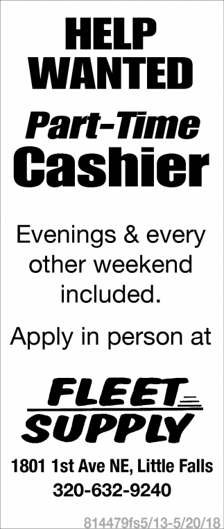 Part-Time Cashier Wanted