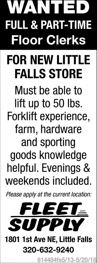 Wanted Full & Part-Time Floor Clerks