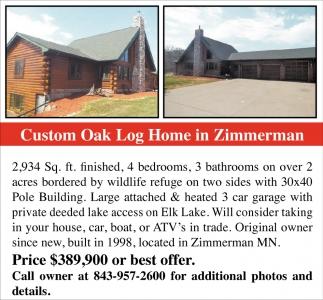 Custom Oak Log Home in Zimmerman