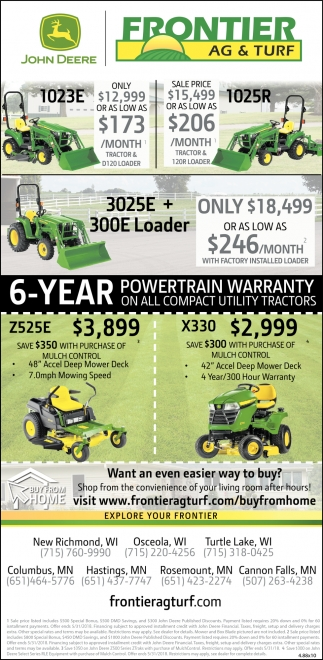 6- Year Powertrain Warranty on All Compact Utility Tractors