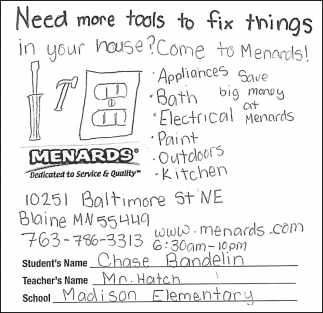 Need More Tools to Fix Thngs in Your House? Come to Menards!