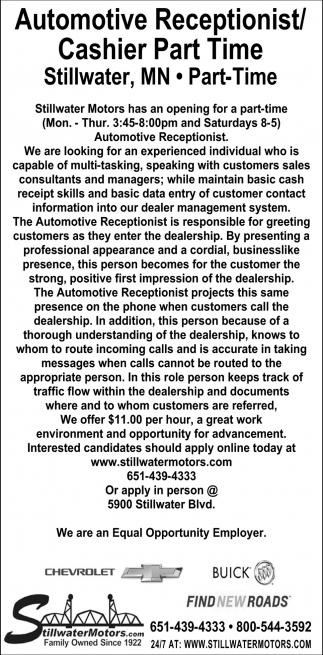 Automotive Receptionist/Cashier Part Time