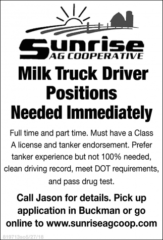 Milk Truck Driver Positions Needed Immediately