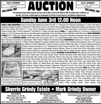 Auction Sunday June 3rd