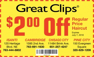 Regular Price Haircut Great Clips Cambridge Mn
