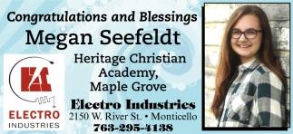 Congratulations and Blessings Megan Seefeldt