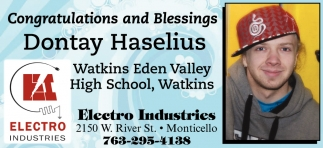 Congratulations and Blessings Dontay Haselius