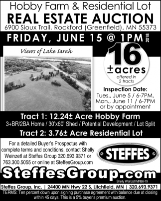 Hobby Farm & Residential Lot Real Estate Auction