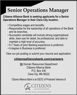 Senior Operations Manager