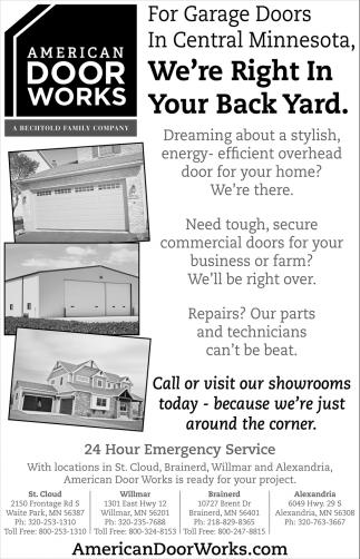 For Garage Doors In Central Minnesota, AMERICAN DOOR WORKS, Waite Park, MN