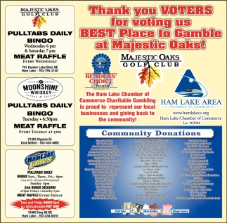 Thank You Voters for Voting us Best Place to Gamble at Majestic Oaks