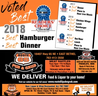 Voted Best 2018 Hamburger Dinner