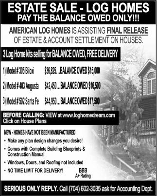 Estate Sale Log Homes Log Home Dream