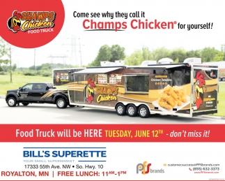 Champs Chicken Food Truck Will be Here