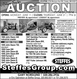 Antique Tractor Auction Timed Online