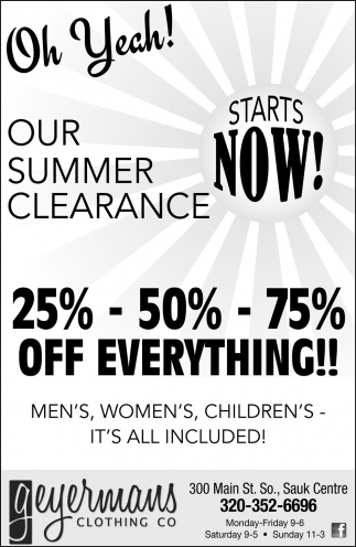 Our Summer Clearance