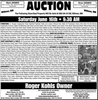 Auction Wednesday June 16th
