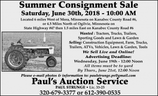 Summer Consignment Sale!