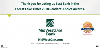 Thank You for Voting us Best Bank in the Forest Lake Times 2018 Reader's Choice Awards