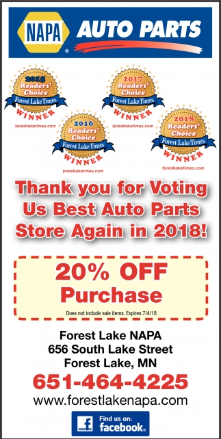 Thank You for Voting us Best Auto Parts Store Again in 2018!