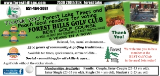 Thank You Forest Lake Times and Peach Local Readers for Voting