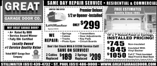 Same Day Repair Service Great Garage Door Blaine Mn