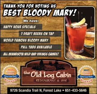 Thank You For Voting Us Best Bloody Mary The Old Log Cabin