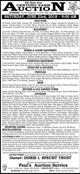 Elk River Area Century Farm Auction