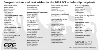 Congratulations and Best Wishes to the 2018 ECE Scholarship Recipients