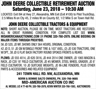 John Deere Collectible Retirement Auction