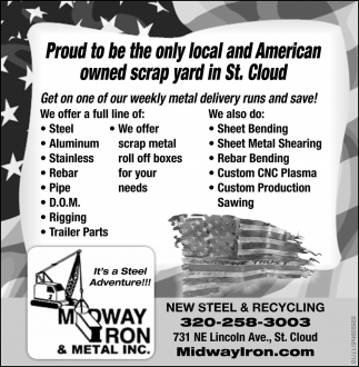 Proud to be the Only Local and American Owned Scrap Yard in St. Cloud